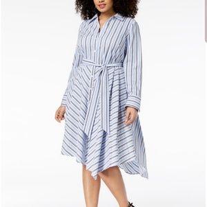 NEW INC PLUS SIZE 14W STRIPPED ASYMMETRICAL DRESS